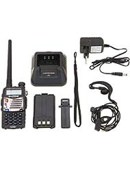 Baofeng UV- 5RA Walkie Talkie FM de Radio VHF / UHF Alcance Hasta 5 km, con Doble Banda , Pantalla Dual , Doble Modo de Espera y Reloj Incorporado Negro