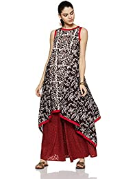 Indi lite Women's Asymmetrical Hemline Cotton Kurta