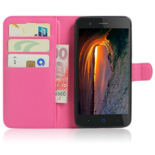 SMTR ZTE Blade A510 Wallet Tasche Hülle - Ledertasche im Bookstyle in Rose - [Ultra Slim][Card Slot][Handyhülle] Flip Wallet Case Etui für ZTE Blade A510
