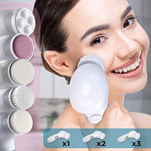 Gesichtsbürste Elektrische | inklusive 5 Aufsätze, für Tiefenreinigung, Peeling, Massieren, batteriebetrieben im Set nach Ihrer Wahl | Gesichtsreinigungsbürste, Peelingbürste