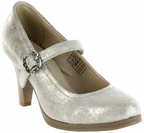 Bergheimer Trachtenschuhe Trachten Pumps Gold Velourleder Damen Schuhe Susi