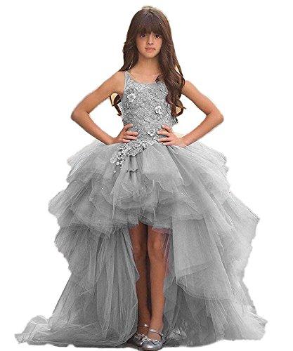 nzessin Kleid hoch niedrig Blumenmädchen Kleid Spitze Appliques Junior erste Kommunion Kleid (Erste Kommunion Kleider Puffy)