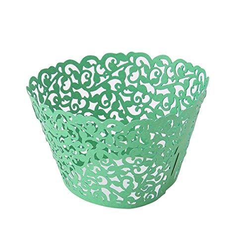 50 Stück Cupcake Wrapper Liner mit aushöhlen Muster für Muffin Cupcake Dekorationen, Backen Kuchen Pappbecher Cases für Hochzeit Party Geburtstag (grün) Langlebig und praktisch