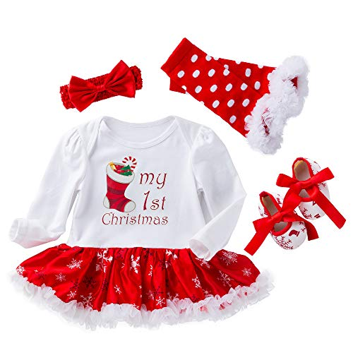 WAFA Infant Baby Mädchen Weihnachten Kostüm Stirnband Outfit anziehen (Socks, 4-6 Monat)
