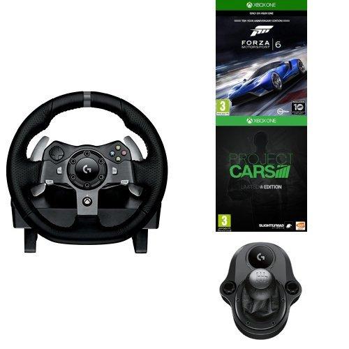 Logitech G920 Volant avec pédalier pour Xbox One/PC Noir + levier de vitesse Driving Force Shifter + Forza Motorsport 6 (Xbox One) + Project Cars édition limitée (Xbox One)