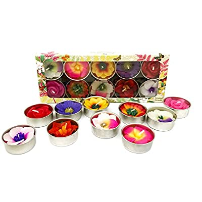 Mixed 10 Handmade Fairtrade Scentd Flower Tealight Candle In Assorted Designs And Colours Gift Set from Hana Blossom