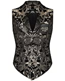 Devil Fashion Herren Aristocrat Weste schwarz Gold Brokat Gothic Steampunk - Schwarz, X-Large