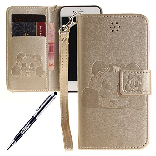 iPhone 7 Hülle,iPhone 7 2016 Schutzhülle,JAWSEU Retro Cool Lanyard/Strap Bookstyle Prägung Tribal Elefant Muster Pu Ledertasche Magnetverschluss Handyhülle Wallet Brieftasche Etui Case Cover mit[Ständ Panda,Gold