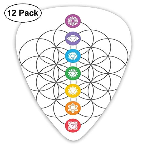 Celluloid Guitar Picks - 12 Pack,Abstract Art Colorful Designs,Chakra Points In Vintage Concentric Rings Of Partial Circle Zen Theme Image,For Bass Electric & Acoustic Guitars.