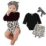 Geagodelia Conjunto de ropa de bebé de 3 a 24 meses, 2 piezas, pelele con botones + pantalones cortos con estampado de leopar