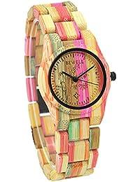 BEWELL Reloj Moda Colorido Bambú Womens Movimiento De Cuarzo Reloj Analógico W105DG (Multicolor 2)