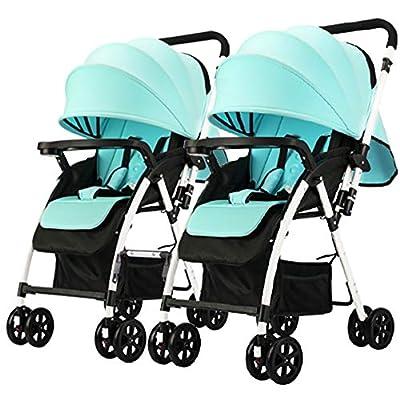 zxmpfg Cochecito de bebé gemelo, carrito plegable de viaje, desmontable en dos cochecitos, asientos reclinables y toldos multiuso, grandes cestas de almacenamiento para todas las estaciones