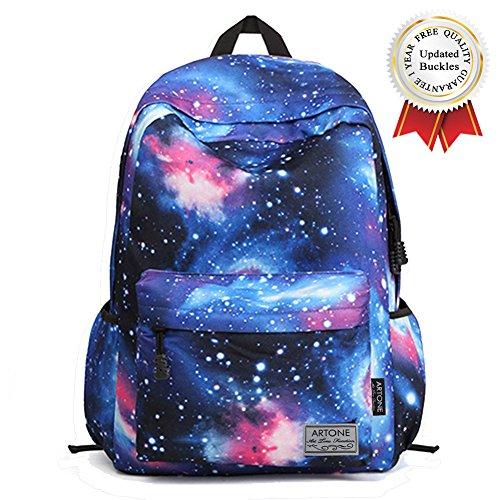 """Artone Unisex Nylon Sternenklar Galaxis Universum Rucksack Passen 14"""" Laptop mit Umhängetasche und Mäppchen Blau Set von 3 Blau M"""