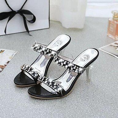zhENfu Donna pantofole & flip-flops Comfort PU Primavera Estate Abbigliamento Casual Comfort gattino tallone oro Rubino Nero 1A-1 3/4in Black