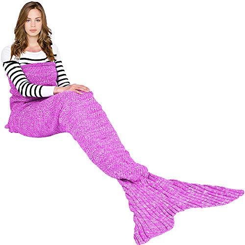 Ecrazybaby888 coperta a coda di sirena fatta a mano, coperta a maglia calda per tutte le stagioni divano trapunta a soggiorno per bambini e adulti, modello classico, 180 x 90 cm, rosa scuro