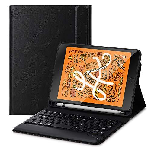 Foluu Schutzhülle für iPad Mini 5 2019 Tastatur, kabellose iPad Tastatur Folio Smart Case mit Stifthalter Smart PU Cover Auto Sleep Wake Magnetic für Apple New iPad Mini 5. Generation - Ipad Das Tastaturen Für Mini
