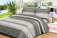 Dream Bell CFS16 3 Pieces Set King Size Cotton Bedsheet, Multi-Colour