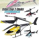 Bakaji Elicottero Telecomandato 2 Canali con Stabilizzatore e Telecomando a distanza Lungo 17,5 cm Uso Interno Esterno Vari Colori immagine