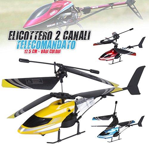 Bakaji elicottero telecomandato 2 canali con stabilizzatore e telecomando a distanza lungo 17,5 cm uso interno esterno vari colori