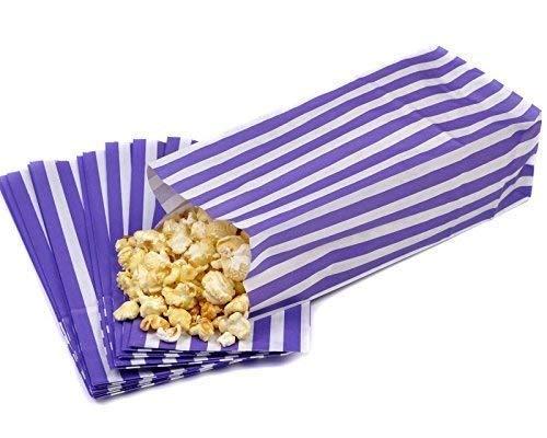 We Can Source It Ltd - Lila und Weiß Pick und Mix Süßigkeitsstreifen Papier Süßigkeiten/Popcorn Taschen Recyclebar und Biologisch Abbaubar 4