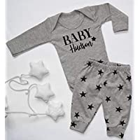 Personalised Baby Surname Organic Star Baby Vest Pants and Hat Set Babygrow New Baby Gifts Newborn baby Gifts Personalised Babywear Hospital Outfit Newborn