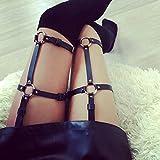 KELAND Frauen-Stil übertrieben Taille Bein Kunstleder Strumpfband Erotische Persönlichkeit Körperschmuck Harness (Schwarz 4) - 4
