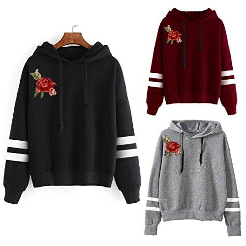 Kingwo Women Hoody, Ladies Autumn Embroidery Applique Long Sleeve Hoodie Sweatshirt Jumper Hooded Pullover Tops Blouse