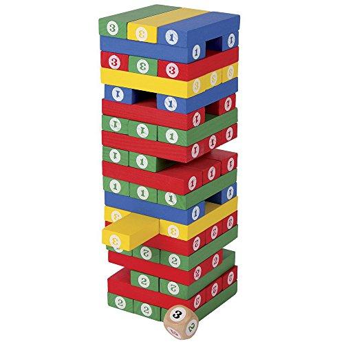 Zahlenturm aus bunt lackiertem Holz, mit 57 farbenfrohen Holzblöcken und 1 Holzwürfel, Stapelspaß und spannendes Würfelspiel, für Groß und Klein ab 4 Jahre
