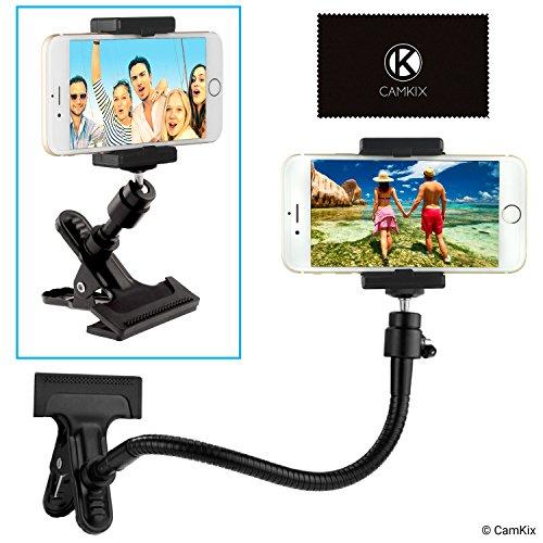 CamKix Universeller Telefon / Kamera Halter mit flexiblem Schwanenhals und starker Klemme - Für mobile Fotografie, Aufnahme von Vlogs, Videos, GPS Navigation, etc. - Kugelgelenk