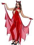 La vogue Damen Teufel Kostüm Halloween Overall Jumpsuit Karneval Fasching Kostüme Cosplay M Brust 77-98cm