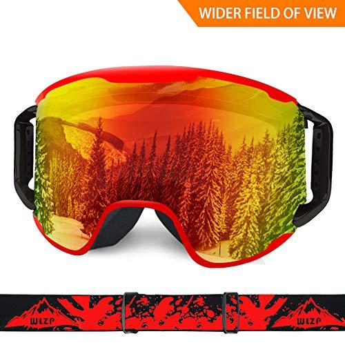 WLZP Maschera da Sci, Neve Sport Goggles per Snowboard, Antipolvere AntiGraffio, Double Anti Fog UV400 OTG sopra i vetri del Casco Compatibile per Uomo Donna della