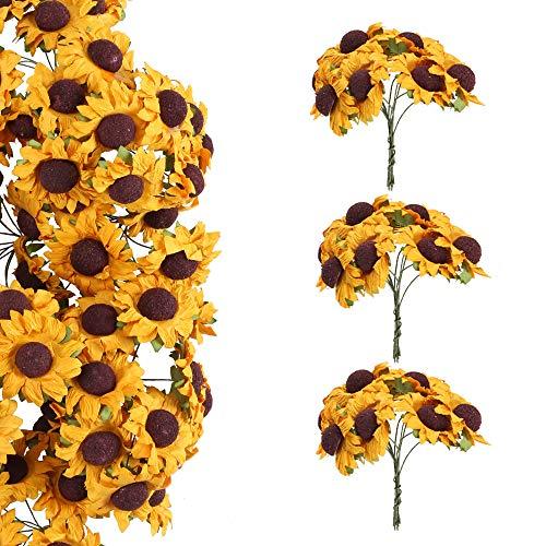 Nahuaa 100 pz girasoli per bomboniere piccoli girasoli artificiali di carta con stelo ferro boquet fiorellini finti per decorazioni matrimonio compleanno feste biglietti d'auguri regalo
