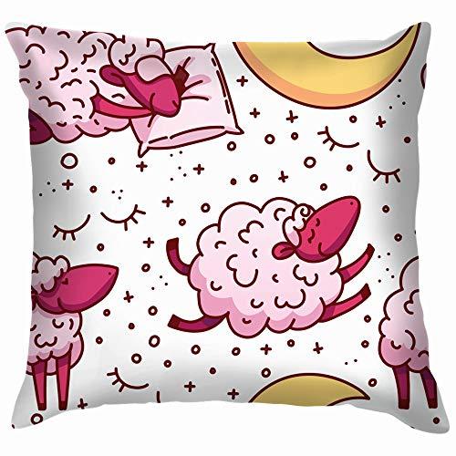 Cute Sheeps Concept Trying Animals Wildlife Alarm Clock Soft Cotton Linen Cushion Cover Pillowcases Throw Pillow Decor Pillow Case Home Decor 18X18 Inch