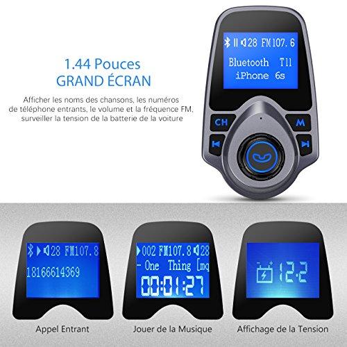 Mpow Transmetteur Bluetooth FM Chargeur USB voiture 1,44