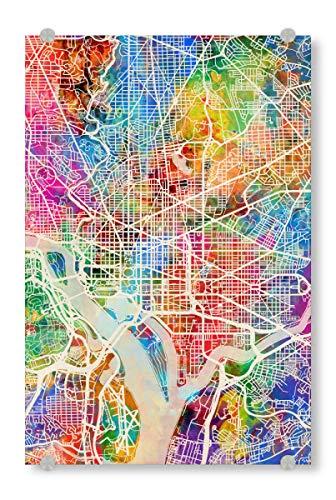 artboxONE Acrylglasbild 30x20 cm Städte Washington DC Street Map - Bild Street map City map Road map