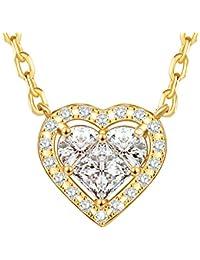Dawanza - Regalos Navidad Collar Mujer Oro Plateado - Zirconia Cúbica Blanca con Colgantes de Corazón - Joyería de Moda Cadena Incluida