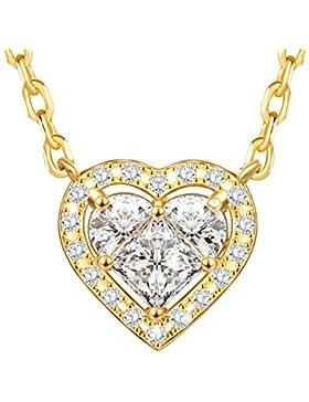 Dawanza - Weihnachtsgeschenke Halskette Damen Vergoldet - Kristall weiß mit Herz Anhänger - Modeschmuck mit Kette