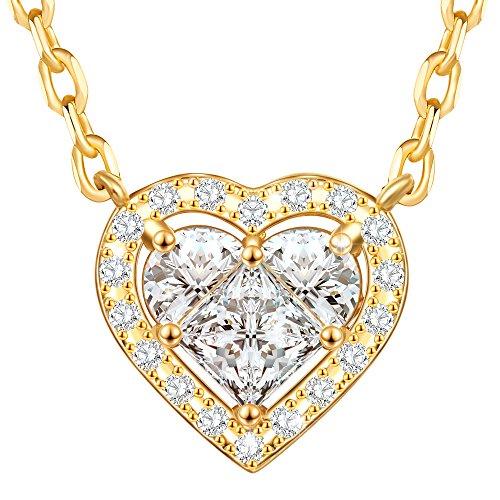 Dawanza - regalo festa della mamma collana donne oro argento - ciondoli cubic zirconia bianco con cuore - gioielli di moda catena inclusa