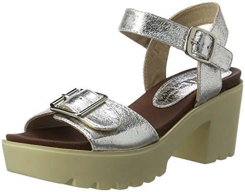 XTI Damen Metallic Ladies Wedge sandalen Silber (Silver)