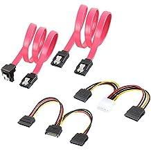 LOMATEE 2 x cable SATA 3 de 48 cm + adaptador de corriente SATA de 4 pines ATX a 2 x 15 pines de 16 cm + cable de alimentación SATA de 15 pines a 2 x 15 pines de 16 cm, velocidad de transferencia 6 Gb/s, set de cables de datos SATA III conector macho-macho y acodado en 90°