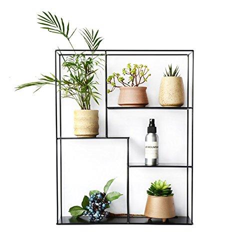 Q-ZHI Mehrschichtiges Wand-Speicher-Regal-Schmiedeeisen-an der Wand befestigtes Blumen-Gestell/Stehen für Wohnzimmer-Balkon-Schlafzimmer-Studien-Küche