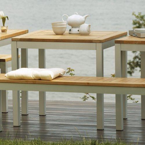 Quadrat Tisch - Gestell alufarben, Platte Teak natur / 60 x 90 cm, h 76 cm