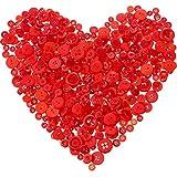 Tatuo 1000 Stücke Valentines Buttons Runde Craft Harz Buttons für Handwerk Nähen Valentinstag Dekorationen, 2 Löcher und 4 Löcher (Rot)