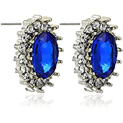 Tiaraz AD American Diamond Blue Stone Stud Earring For Girls and Women