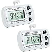 Oria 2 Pack Refrigerator Thermometer, Digital Freezer / Fridge Thermometer with Hook - Easy to Read LCD Display, Max/Min Function - Perfect for Home, Restaurants, Bars, Cafes,ect.- White