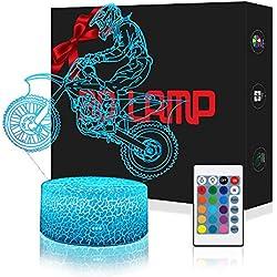 LED Lámpara de Mesa 3D Moto Corredor con Control Remoto Sensor Tacto, QiLiTd Regulable Lámpara de Noche Atmósfera Modo RGB, Decoracion Cumpleaños Navidad Regalos de Mujer Bebes Hombre Niños Amigas