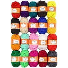 Soledi® Pack de 20madejas hilo acrílico perfecto para Crochet y tejer hilo de proyecto bombones de colores