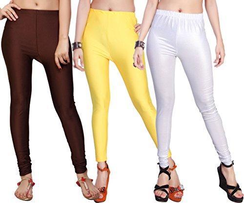 Comix Cotton Lycra Fabric Women Shiny Leggings Combo Set of 3(AGSPL-3135-VTE-LG-10-CMB3-VE366-XL)
