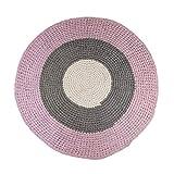 Sebra runder Häkel-Teppich aus 100% Baumwolle in zarten Pastellfarben rosa-grau, handgefertigter Spielteppich mit 120cm Durchmesser für Das Kinderzimmer oder Wohnzimmer, nachhaltig und Pflegeleicht