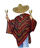 tnt-shop-de Mexiko Poncho Mexikaner Kostüm mit Sombrero Natur mit Kordel im Set - ideales Gruppenkostüm